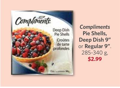 Compliments Pie Shells - Deep Dish 9'' or Regular 9in - 285-340 g