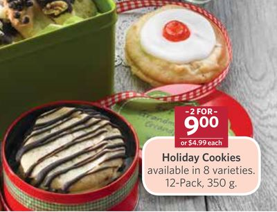 Holiday Cookies Available In 8 Varieties. 12-pack - 350 g