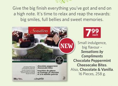 Sensations By Compliments Chocolate Peppermint Cheesecake Bites. Also - Chocolate & Vanilla. 16 Pieces - 258 g