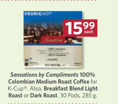 Sensations By Compliments 100% Colombian Medium Roast Coffee For K-cup. Also - Breakfast Blend Light Roast or Dark Roast. 30 Pods - 285 g