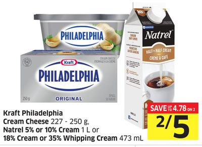 Kraft Philadelphia Cream Cheese 227 - 250 g - Natrel 5% or 10% Cream 1 L or 18% Cream or 35% Whipping Cream 473 mL