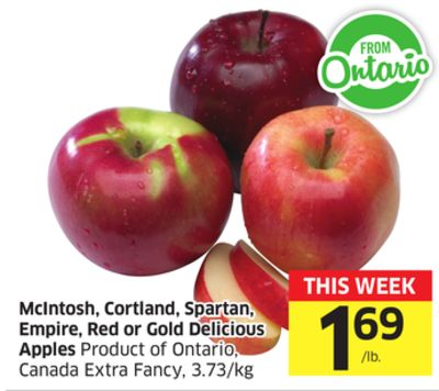 Mcintosh - Cortland - Spartan - Empire - Red or Gold Delicious Apples Product of Ontario - Canada Extra Fancy - 3.73/kg