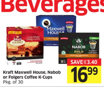 Kraft Maxwell House - Nabob or Folgers Coffee K-cups Pkg of 30
