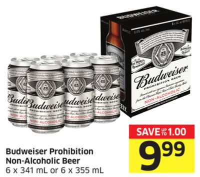 Budweiser Prohibition Non-alcoholic Beer 6 X 341 mL or 6 X 355 mL