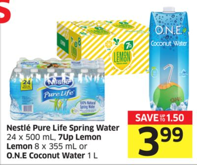 Nestlé Pure Life Spring Water 24 X 500 mL - 7up Lemon Lemon 8 X 355 mL or O.n.e Coconut Water 1 L