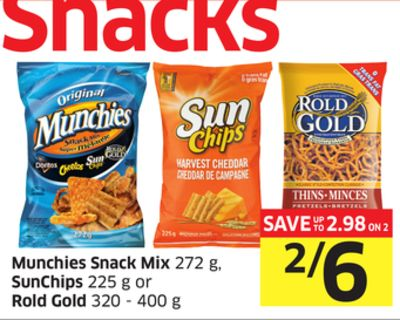 Munchies Snack Mix 272 g - Sunchips 225 g or Rold Gold 320 - 400 g