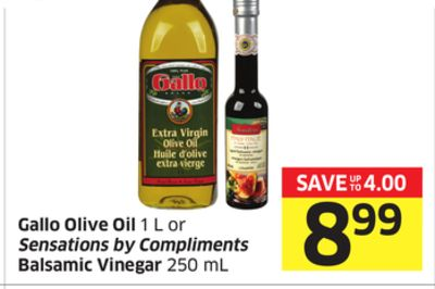 Gallo Olive Oil 1 L or Sensations By Compliments Balsamic Vinegar 250 mL