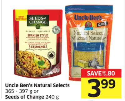 Uncle Ben's Natural Selects 365 - 397 g or Seeds of Change 240 g