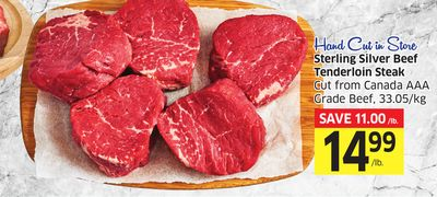 Sterling Silver Beef Tenderloin Steak Cut From Canada Aaa Grade Beef - 33.05/kg