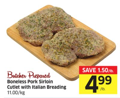 Boneless Pork Sirloin Cutlet With Italian Breading 11.00/kg