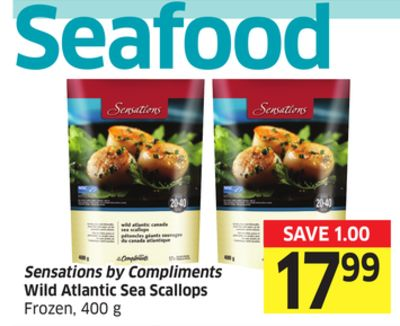 Sensations By Compliments Wild Atlantic Sea Scallops Frozen - 400 g