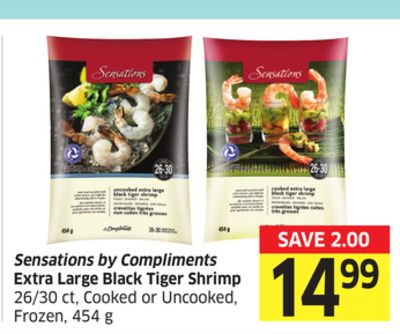 Sensations By Compliments Extra Large Black Tiger Shrimp 26/30 Ct - Cooked or Uncooked - Frozen - 454 g