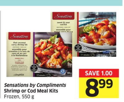 Sensations By Compliments Shrimp or Cod Meal Kits Frozen - 550 g