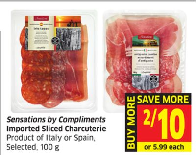 Sensations By Compliments Imported Sliced Charcuterie Product of Italy or Spain - Selected - 100 g