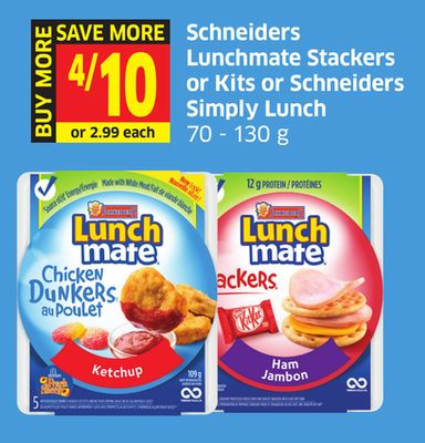 Schneiders Lunchmate Stackers or Kits or Schneiders Simply Lunch 70 - 130 g