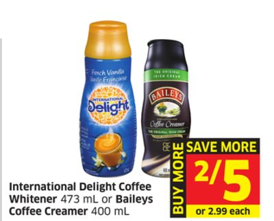 International Delight Coffee Whitener 473 mL or Baileys Coffee Creamer 400 mL