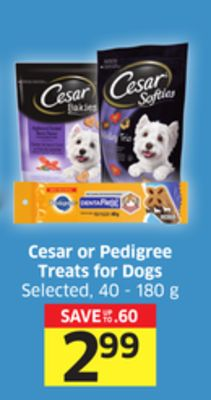Cesar or Pedigree Treats For Dogs Selected - 40 - 180 g
