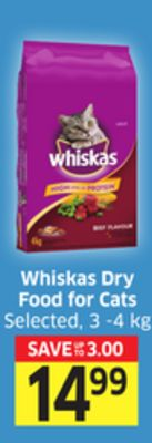 Whiskas Dry Food For Cats Selected - 3 -4 Kg