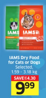 Iams Dry Food For Cats or Dogs Selected - 1.59 - 3.18 Kg