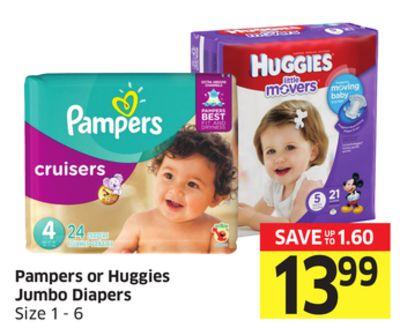 Pampers or Huggies Jumbo Diapers Size 1 - 6