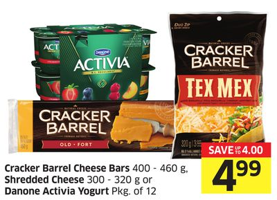 Cracker Barrel Cheese Bars 400 - 460 g - Shredded Cheese 300 - 320 g or Danone Activia Yogurt Pkg of 12