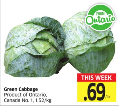Green Cabbage Product of Ontario - Canada No. 1 - 1.52/kg