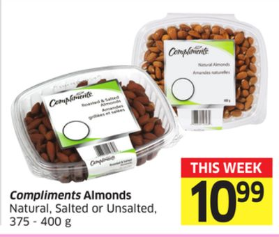 Compliments Almonds Natural - Salted or Unsalted 375-400 g
