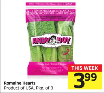 Romaine Hearts Product of USA - Pkg of 3