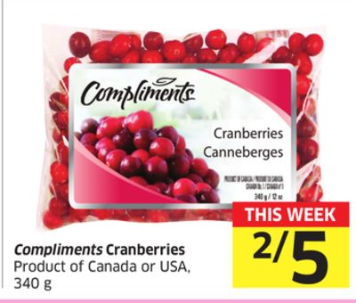 Compliments Cranberries Product of Canada or USA - 340 g