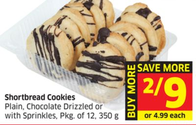 Shortbread Cookies Plain - Chocolate Drizzled or With Sprinkles - Pkg of 12 - 350 g