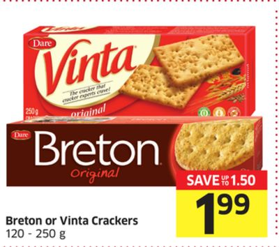 Breton or Vinta Crackers 120 - 250 g