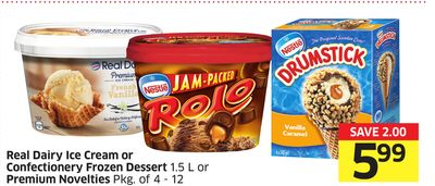 Real Dairy Ice Cream or Confectionery Frozen Dessert 1.5 L or Premium Novelties Pkg of 4 - 12