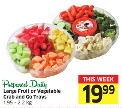 Large Fruit or Vegetable Grab and Go Trays 1.95 - 2.2 Kg