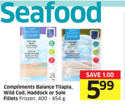 Compliments Balance Tilapia - Wild Cod - Haddock or Sole Fillets Frozen - 400 - 454 g
