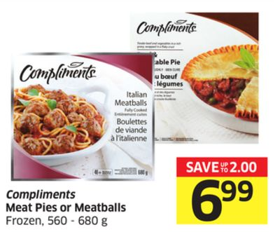 Compliments Meat Pies or Meatballs Frozen - 560 - 680 g