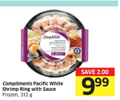 Compliments Pacific White Shrimp Ring With Sauce Frozen - 312 g