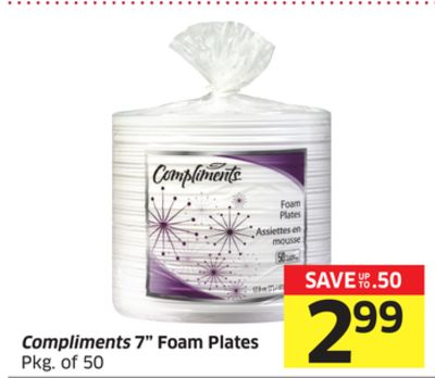 Compliments 7'' Foam Plates Pkg of 50