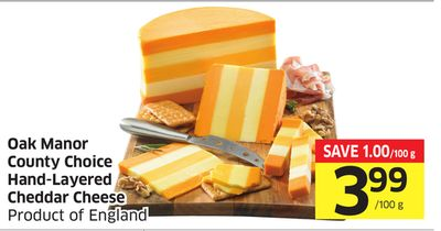 Oak Manor County Choice Hand-layered Cheddar Cheese Product of England