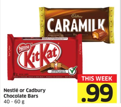 Nestle or Cadbury Chocolate Bars 40-60 g