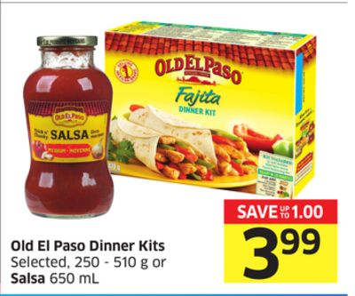 Old El Paso Dinner Kits Selected - 250 -510 g or Salsa 650 mL