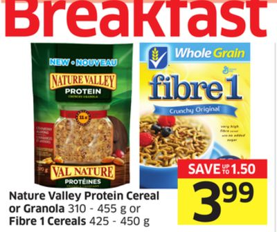 Nature Valley Protein Cereal or Granola 310 - 455 g or Fibre 1 Cereals 425 - 450 g