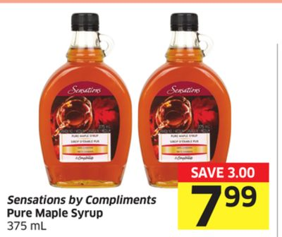 Sensations By Compliments Pure Maple Syrup 375 mL