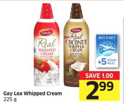 Gay Lea Whipped Cream 225 g - +5 Air Miles Bonus Miles