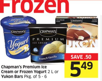 Chapman's Premium Ice Cream or Frozen Yogurt 2 L or Yukon Bars Pkg of 5-6