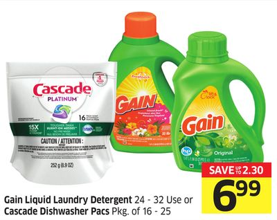 Gain Liquid Laundry Detergent 24 - 32 Use or Cascade Dishwasher Pacs Pkg of 16 - 25