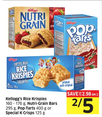 Kellogg's Rice Krispies 160 - 176 g - Nutri-grain Bars 295 g - Pop-tarts 400 g or Special K Crisps 125 g