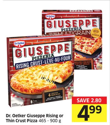 Dr. Oetker Giuseppe Rising or Thin Crust Pizza 465 - 900 g