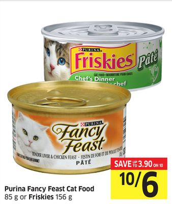Purina Fancy Feast Cat Food 85 g or Friskies 156 g