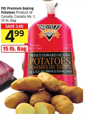 Pei Premium Baking Potatoes Product of Canada - Canada No. 1 - 15 Lb. Bag
