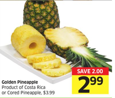 Golden Pineapple Product of Costa Rica or Cored Pineapple